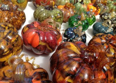 Glass Pumpkins on Display