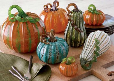 Tabletop decoration with glass pumpkins