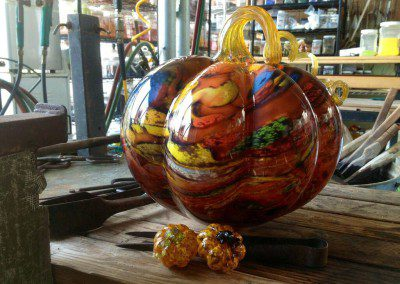 Glass pumpkins in many sizes