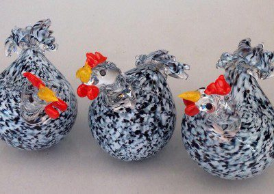 Glass chickens how cute!