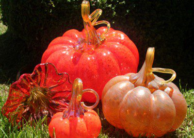 Orange glass pumpkin trio