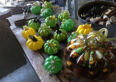 Themed green and yellow pumpkins