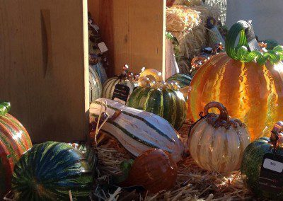 Decorative Glass Pumpkin Display