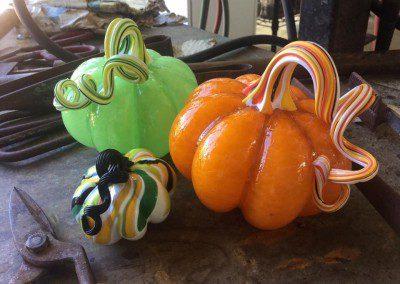 Pumpkin trio on display
